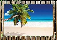Wallario Garten-Poster Outdoor-Poster - Südseestrand in der Karibik mit Palme in Premiumqualität, Größe: 61 x 91,5 cm, für den Außeneinsatz geeigne