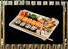 Wallario Garten-Poster Outdoor-Poster - Sushi-Menü mit Inside-Out Sushi, Nigiri und Wasabi in Premiumqualität, Größe: 61 x 91,5 cm, für den Außeneinsatz geeigne