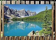 Wallario Garten-Poster Outdoor-Poster - Tiefblauer See mit Bergpanorama und Wäldern – Kanada in Premiumqualität, Größe: 61 x 91,5 cm, für den Außeneinsatz geeigne