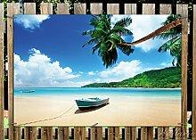 Wallario Garten-Poster Outdoor-Poster - Urlaub am Palmenstrand unter Palmen mit Fischerboot in Premiumqualität, Größe: 61 x 91,5 cm, für den Außeneinsatz geeigne
