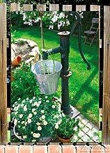 Wallario Garten-Poster Outdoor-Poster - Wasserquelle im Garten in Premiumqualität, Größe: 61 x 91,5 cm, für den Außeneinsatz geeigne
