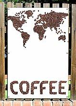 Wallario Garten-Poster Outdoor-Poster - Weltkarte mit Schriftzug aus Kaffeebohnen in Premiumqualität, Größe: 61 x 91,5 cm, für den Außeneinsatz geeigne