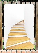 Wallario Garten-Poster Outdoor-Poster - Wendeltreppe aus hellem Holz in Premiumqualität, Größe: 61 x 91,5 cm, für den Außeneinsatz geeigne