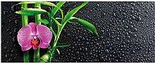 Wallario Glasbild Bambus und Pinke Orchidee auf