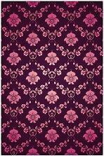 Wallario Glasbild Blumenmuster Damast in pink lila