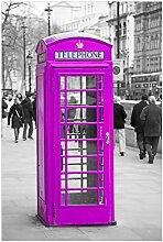 Wallario Glasbild Englische Telefonzelle in pink -