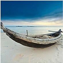 Wallario Glasbild Fischerboot am Strand mit