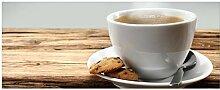 Wallario Glasbild Heiße Tasse Kaffee mit