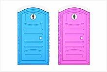 Wallario Glasbild Klo-Häuschen blau und pink