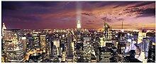 Wallario Glasbild New York bei Nacht -