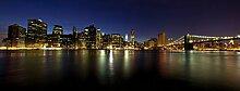 Wallario Glasbild New York Skyline - Brooklyn