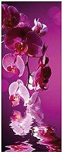 Wallario Glasbild Rosafarbene Orchidee Blüten in