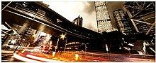 Wallario Glasbild Stadt am Abend - Straße - 32 x