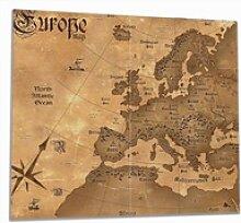 Wallario Herdblende-/Abdeckplatte Alte Weltkarte