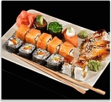 Wallario Herdblende-/Abdeckplatte Sushi-Menü mit