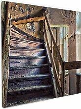 Wallario Leinwandbild Treppe in Einem Alten Haus -