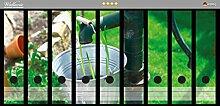 Wallario Ordnerrücken Sticker Wasserquelle im Garten in Premiumqualität - Größe 54 x 30 cm, passend für 9 breite Ordnerrücken
