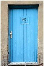 Wallario Poster - Blaue Tür einer Toilette in