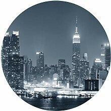 Wallario rundes Glasbild New York Skyline -