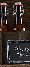 Wallario Selbstklebende Türtapete Biervarianten - Pils im Glas, Flaschenbier, Schild Craft Beer - 93 x 205 cm in Premium-Qualität: Abwischbar, brillante Farben, rückstandsfrei zu entfernen