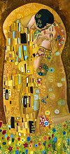 Wallario Selbstklebende Türtapete Der Kuss von Gustav Klimt - 93 x 205 cm in Premium-Qualität: Abwischbar, brillante Farben, rückstandsfrei zu entfernen