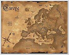 Wallario Wandbild Alte Weltkarte Karte von Europa