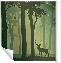 Wallepic Fototapete Wald mit Hirsch 270x405 Grün