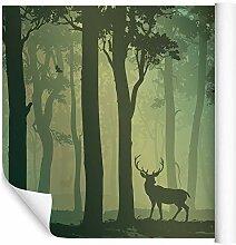 Wallepic Fototapete Wald mit Hirsch 90x135 Grün