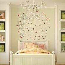 wallflexi Wand Sticker Rosa Schmetterling Vines Art Wand Wandmalereien abnehmbarer selbstklebend Aufkleber Kinderzimmer Kindergarten Kinder Zimmer Restaurant Cafe Hotel Büro Home Dekoration, mehrfarbig