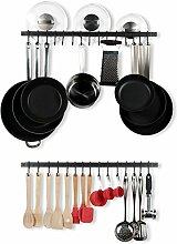 Wallniture Casto Küchenregal mit Haken, Pfanne,