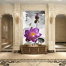 WALLPACL Fototapete Tapete Chinesische Tinte Lotus