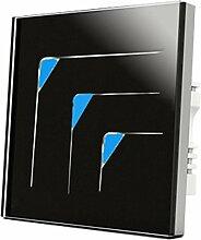 Wallpad C53Gang 1Weg, schwarz Wandleuchte Glas Panel Touch-Schalter, kratzfest, Sensitive