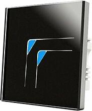 Wallpad C5Dekorative Schwarz 2Gang 1Weg, Glas Panel Touch-Schalter, kratzfest dreieckig Symbol vollständig Sensitive