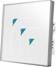 Wallpad C5dreieckig Symbol 3Gang 1Weg, weiß Glas Panel Touch-Sensor Wandleuchte Schalter, kratzfest, Sensitive