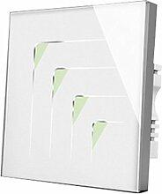 Wallpad C5dreieckig Symbol kratzfest 4Gang 1Weg, weiß Glas Panel Touch-Sensor Wandleuchte Schalter, Sensitive