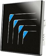 Wallpad C5Luxus dreieckigen Symbol schwarz 4Gang 2Weg, oder Fortgeschrittene Wandleuchte Glas Panel Touch-Sensor Schalter, kratzfest, Empfindliche