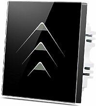 Wallpad C73Gang 1Weg, schwarz Wandleuchte Glas Panel Touch-Schalter, kratzfest, Sensitive