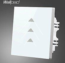 Wallpad C7Luxus weiß kratzfest 3Gang 2Wege oder Kristall Panel Touch-Sensor Wall Light Zwischendimmer