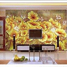 Wallpaper 3D Wandbild Gelbe Blumenlandschaft Vlies