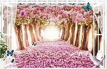 Wallpaper 3D Wandbild Rote Blumenlandschaft Vlies