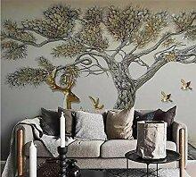 Wallpaper 3D Wandbild Tier Hirsch Reliefbaum Vlies