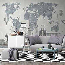 Wallpaper 3D Wandbild Vintage Weltkarte Vlies Wand