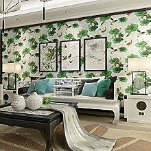 Wallpaper modernen chinesischen Stil Tapete Grün PVC Wohnzimmer Schlafzimmer TV große Lotus Blumen Hintergrund , wallpaper