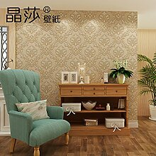 Wallpaper Schlafzimmer Wohnzimmer3DRetro stereo geprägten TV-Wand Papier HintergrundContinental Vlies Tapete,Helle Farbe Kaffee