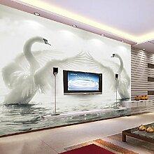 Wallpapers 3D Große Wandbilder Hochzeit Zimmer Wohnzimmer Schlafzimmer TV Hintergrund Tapete Non-Woven Nahtlose Wandtuch Swan XL XXL XXXL , xl