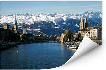 Wallprints - Wallprint Zürichsee mit Alpen