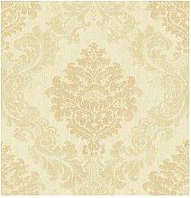 Wallquest–Tapete Damast Gold und Beige Designer Stoff Antik Vintage dm21305Documen