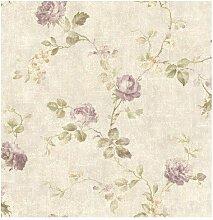 Wallquest–Tapete Vintage mit Blumen Lila Shabby dm21109Document in Papier leicht glänzend antik