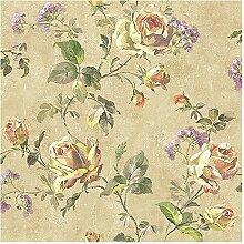 Wallquest–Tapete Vintage mit Blumen und Rosen Shabby Aquarelloptik sv60005Savannah House Collection mit Boden beige antik und Rose farbige Orange und Gelb
