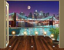 Walltastic 43626 Brooklyn Bridge, NYC, Tapete, Wandbild, Paper, bunt, 12 x 7 x 52,5 cm